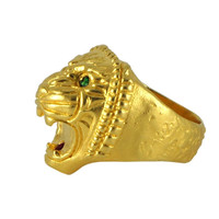 Assyrian Lion Ring: gold plated lion head with ruby mouth, green tsavorite eyes