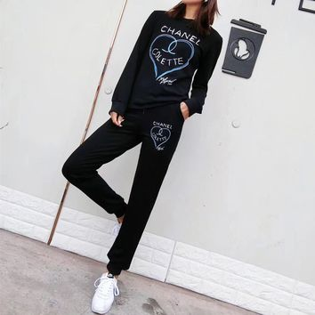 """Chanel"" Women Personality Casual Fashion Love Heart Letter Pattern Print Long Sleeve Trousers Set Two-Piece Sportswear"