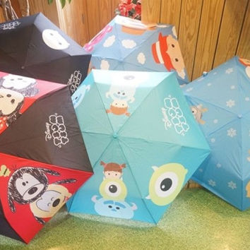 Disney Tsum Tsum Character Cute Big Head 5 Lightweight Umbrella Set