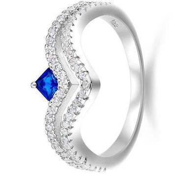 0.7Ct Created Blue Sapphire White Cz 925 Sterling Silver Wedding Engagement Ring