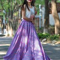 High Waist Long Print Skirts Chiffon Elastic Waist Summer Skirt Custom Made (173)
