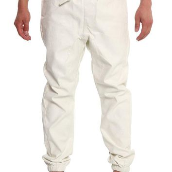 Men's Floral Embossed PU Jogger Pants