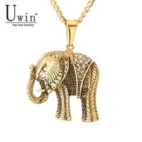 UWIN Hip Hop Elephant Pendant Gold Palted Stainless Steel Trendy Arrowhead Rock Punk Necklace Men Cold Weapons Jewelry