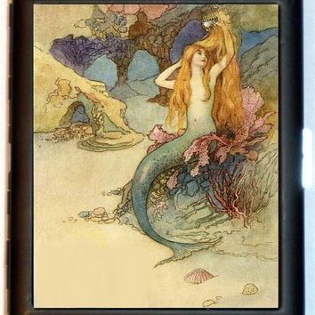 Fairytale Mermaid Victorian Cigarette Case Business card Holder Wallet Fantasy Whimsical Illustration Art