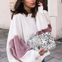 Fashion Fur Loose Splicing Round Neck Contracted Sweater