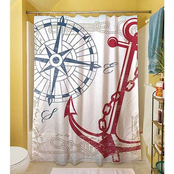 "Walmart: Thumbprintz Anchors Away White Shower Curtain, 71"" x 74"""
