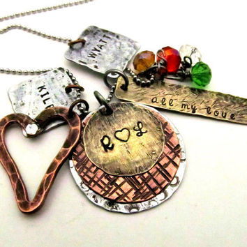 Personalized Necklace - Mixed Metal Mom Necklace - Hand Stamped Jewelry Layered Rustic with Birthstones Copper Heart Cluster Necklace