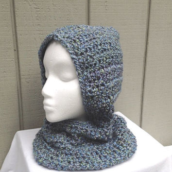 Hooded cowl - Circle scarf with hood - Hooded scarf - Womens cowl with hood