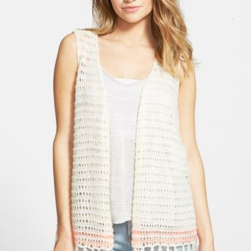 Junior Women's Blu Pepper Fringe Crochet Vest,