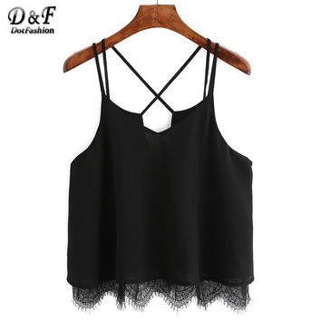 Womens Lace Insert Tops Chiffon Girls Sexy Cami Top 2016 Summer Style New Arrival Women Hollow Spaghetti Strap Camisole