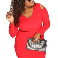 Red Long Sleeves Plus Size Sexy Club Wear Party Dress