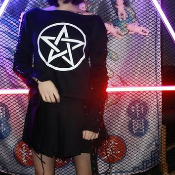 2018 Summer New Arrival Women Harajuku Gothic Punk Hiphop Five Pointed Star Print Cross Bandage Long Sleeve T-Shirt