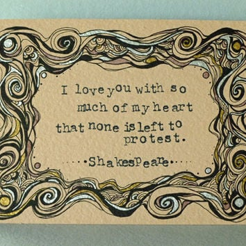 Original Illustration, Shakespeare Quote - Much Ado About Nothing, Literature Art, Love Quote Art