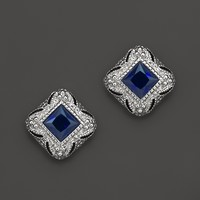 Judith Ripka Estate Stud Earrings in Lab-Created Blue Corundum | Bloomingdale's