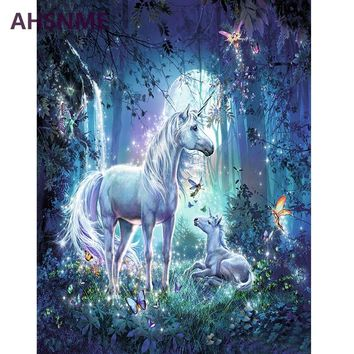 AHSNME moonlight Horse 40x50cm Diy Oil Painting By Numbers Kits Wall Art Picture Home Decor Children's drawing learning kit gift