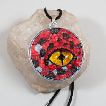 Red Dragon Eye Necklace, Dragon Eye Pendant, Dragon Necklace, Dragon Pendant, Dragon Eye, Dragon Eye Jewelry, Dragon Eye Penant Necklace