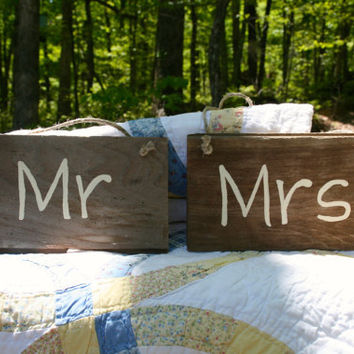 "Wedding Sign - Rustic, Wooden, Reclaimed Lumber - ""Mr"" and ""Mrs"""