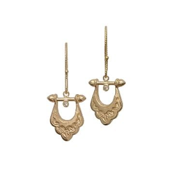 Yellow Gold Diamond Mini Scallop Equestrian Earrings by Just Jules