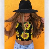 MOTEL ROCKS SUNFLOWER LOVER CROP TOP- BLK
