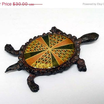 Vintage Patchwork Turtle Brooch -  with enamel type back