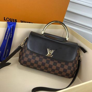 387 Louis Vuitton LV Spring Street Mongram Vernis Paint cowhide Fashion Handbag Flap Bag Doctor Bag 26-17-10 black brown