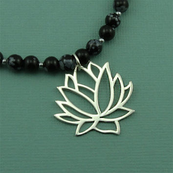 Snowflake Obsidian Lotus Necklace - sterling silver large lotus pendant - yoga jewelry - gemstone beaded