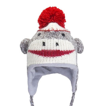 Cute Sock Monkey Kids Peruvian Knit Hat