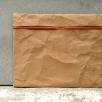 "Kraft fabric paper clutch  12"" x 16"" zipper"