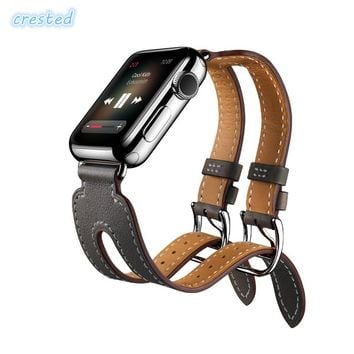 CRESTED Genuine Leather Double Buckle Cuff strap For Apple Watch 42 mm/38 band Leather watch bracelet women apple watch strap