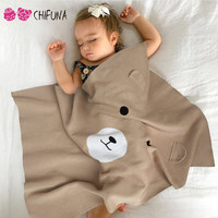 chifuna New 2017 Cute Bear Baby Swadding Boys Girls Soft Knit Blankets Newborn Infant Bedding Baby Costume Kid's Blankets