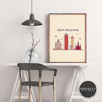 New Orleans Skyline Travel Poster