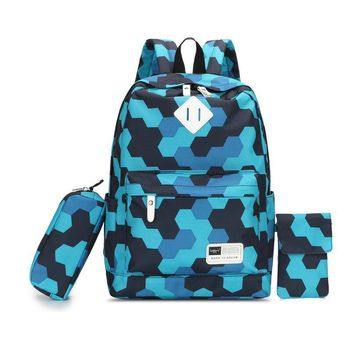 3 pcs kids blue camouflage canvas backpack set boys school bags pen pencil case children one shoulder phone bag male backpacks