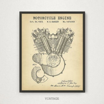 Motorcycle Engine Patent Artwork, Harley Davidson Engine, Motorcycle Enthusiast Gifts, Motorcycle Poster, Boys Room Decor, Man Cave Prints