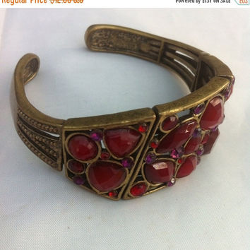 Stretch Bracelet, Ruby Red Glass 1950s Vintage Jewelry, Gift for Her