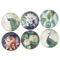 Peacock and Floral Magnet Set