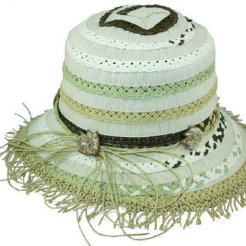 Twill and Raffia Women's Bucket Hat - Sand/White - with Leaf Accents