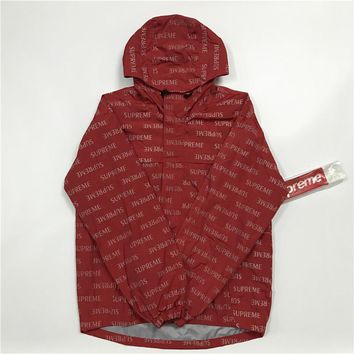 SUPREME 16FW English 3M Red Windbreaker Jacket S-XL