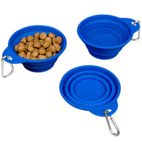Evelots Silicone Collapsing Pet Bowls, Expandable Travel Dish, Blue, Set Of 3