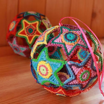 Crochet Pattern-Crochet Colorful Christmas Star Ball-by ASmartPattern-Instant Download PDF file-christmas decoration