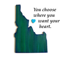 Idaho State Wall Art Cut Out in greens and blue, city heart, state love wall decor,  any wooden state cut out, made to order, state wall map
