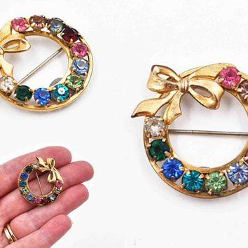 Vintage Tru-Kay 12K Yellow Gold Filled Bow Circle Pin Brooch, Family Pin, Rhinestone, Signed TK, Prong-Set, Multicolor  #c505