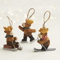 Carved Moose Ornaments