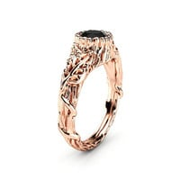 Black Diamond Engagement Ring Rose Gold Ring Leaf Engagement Ring Twig Gold Ring