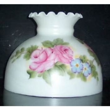 """16809 - Pink And Blue Floral Student Lamp Shade  10"""" Student Shade Beige Opal Ht. 7 1/4"""""""