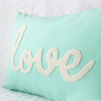 Light Teal Love Pillow by HoneyPieDesign on Etsy
