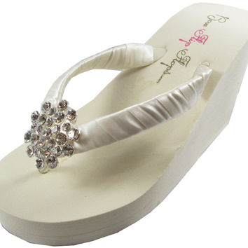 Bridal Flip Flops, Jeweled Ivory White Wedge Flip Flops. Rhinestone Wedding Platform Heels