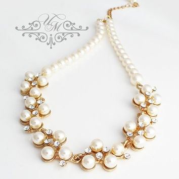 Wedding Jewelry Single stand Swarovski Pearl Necklace Bridal Necklace Bridesmaids Necklace Cluster Pearl Necklace Messy Pearl Necklace - GIA