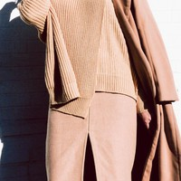 High Neck Knitted Essential Camel Sweater