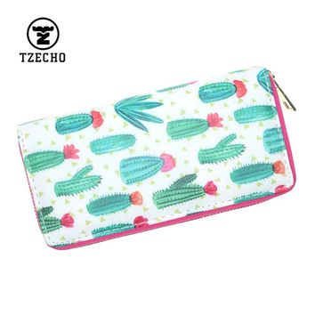 TZECHO Zipper Around Women's Wallets PU Print Cactus Cartoon Ladies Long Clutch Purses Coin Pocket Credit Card Holder Clutch Bag