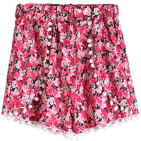 Pink Floral Pleated Shorts